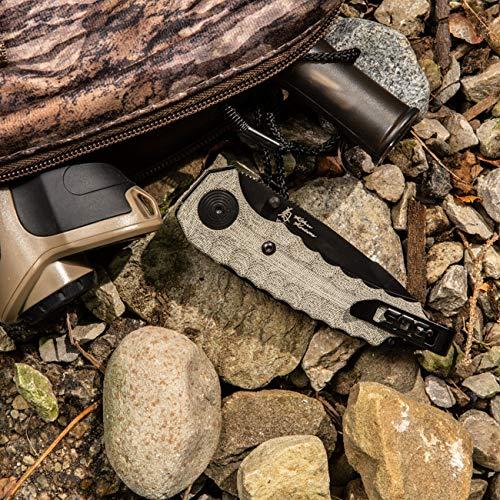 SOG KU-3004 Kiku Assisted Opening Folding Knife with Button Lock and S35VN Linen Micarta Handle, Black