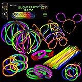 Paquete de Fiesta de barritas Luminosas con Conectores – Suministros de Luces de Colores para Todo Tipo de Fiestas, cumpleaños y Festivales | Pulseras Brillantes, Pendientes y anteojos.