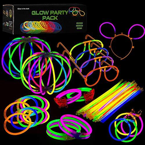 223-teiliges Set Knicklichter zum Basteln von Armbändern und Partydekoration - Leuchtstäbe Set - Party Box mit viel Zubehör- Partydeko