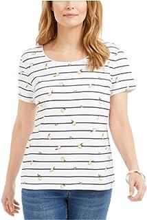 KAREN SCOTT Womens White Speckle Short Sleeve Scoop Neck Top AU Size:14