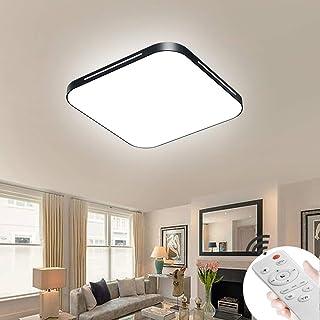 BRYLIN 64W Led De Techo Dormitorio Ultraslim 5cm Regulable Cuadrado Moderno Luz de techo Lámpara de techo(Negro-64W Regulable)