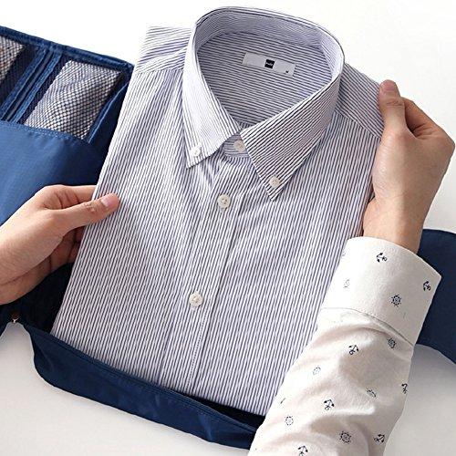 Extsud Organizer da Viaggio per Camicie e Cravatte, Borsa Impermeabile con Maniglia, Custodia da Viaggio Portatile Portacravatte Portacamicie, 36 * 26 * 2cm (Blu Scuro)
