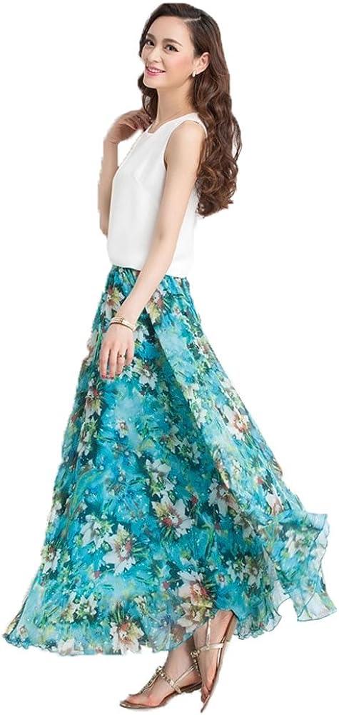 MINGXIN Gypsy/Bohemian Women's Printed Chiffon Pleated Knee-Long Skirt