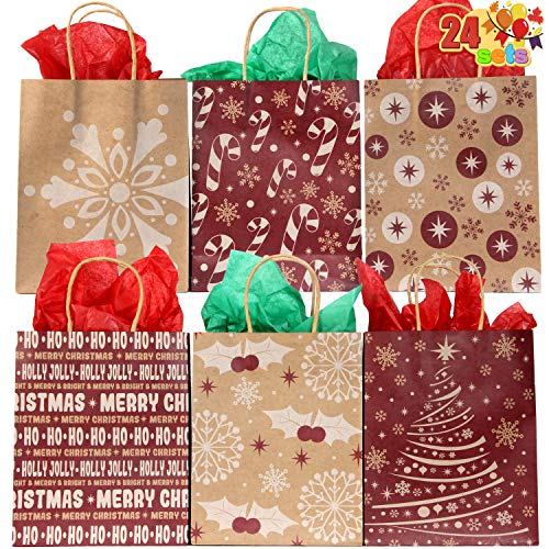 24 Christmas Holiday Kraft Paper Goody Gift Bags 9x7.25x3.5 with Handles for Xmas Gift-Giving, Classrooms Party Favors Wrapping Goodie Bag