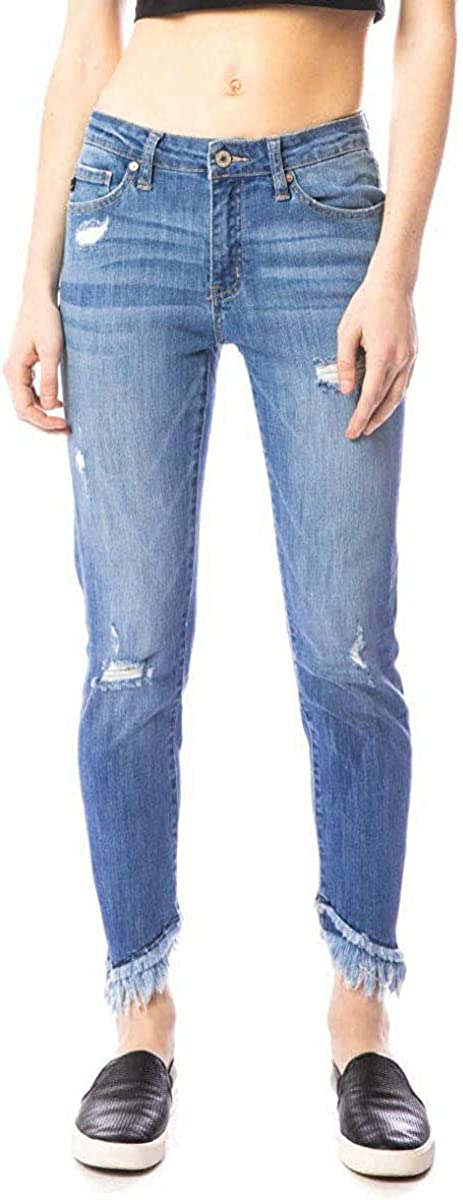 SALT TREE Kan Can Mid-Rise Fringe Ankle Skinny Jeans