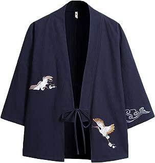 Men's Japanese Fashion Kimono Cardigan Plus Size Jacket Yukata Casual Cotton Linen Seven Sleeve Lightweight