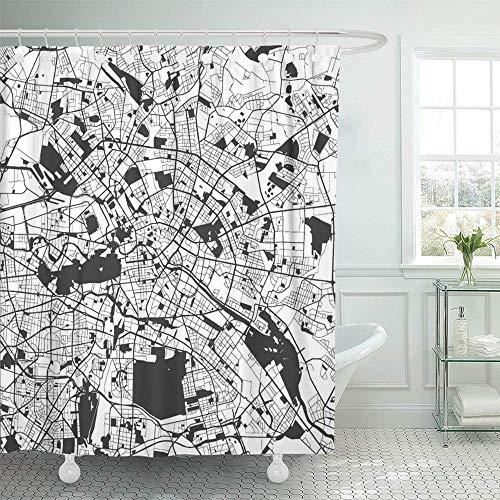GABRI Duschvorhang Berlin Monochrome Map Artprint Gliederung bereit für Farbwechsel auf weißem Duschvorhang Set getrennt