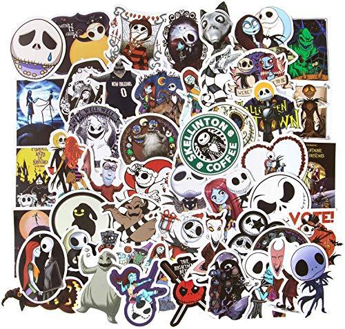 Huayao 50St. Aufkleber The Nightmare Before Christmas and Tim Burton's Sticker Halloween Aufkleber, Laptop Skateboard Aufkleber Vinyl wasserdichte Aufkleber