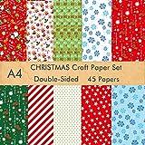 FEPITO Juego de 45 hojas de papel de patrón navideño, papel decorativo navideño A4 para hacer tarjetas de álbum de recortes, decoración, 10 diseños