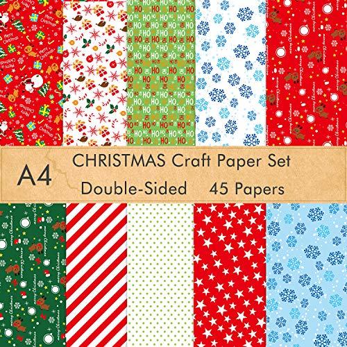 FEPITO 45 Blatt Weihnachtsmuster Papierset, A4 Weihnachtsdekorationspapier für DIY Scrapbook Card Making Dekoration, 10 Designs