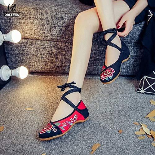Rolecos Game Lol Cosplay Shoes Ahri Cosplay Shoes The Nine-Tailed Fox Bordado Mujeres Retro Chino Tranditional Zapatos de baile 42 como la imagen