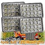 Rectangular 4x6 Inch LED Headlights for Peterbilt 379 378 357 389 Truck - H4651 H4652 H4656 H4666 H4668 H6545 Sealed Beam Headlamps Conversion Kit (2018 Newest Design)
