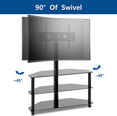 "Corner Floor TV Stand with Swivel Mount for Most 32""-65"" LED, LCD, OLED and Plasma Flat or Curved Screen TVs, Height Adjustab"