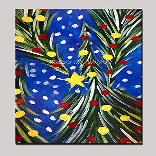 ZHUAIBA Handgemalte Weihnachtsbaum Ölgemälde Auf Leinwand Wandmalerei Wandbilder Für Wohnzimmer Dekoration 50x50 cm