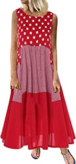 JUTOO Damen Böhmisches Maxikleid Vintage O-Neck Plus Size Ärmelloses Strandkleid mit Blumendruck