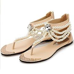 b2993f1413a9 Womens Summer Flat Sandals Party Bridal Sexy T-Strap Bohemian .