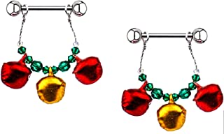 Nipple Shield Rings Barbells Sold as a Pair 14g Holiday Jingle Bells Jewelry