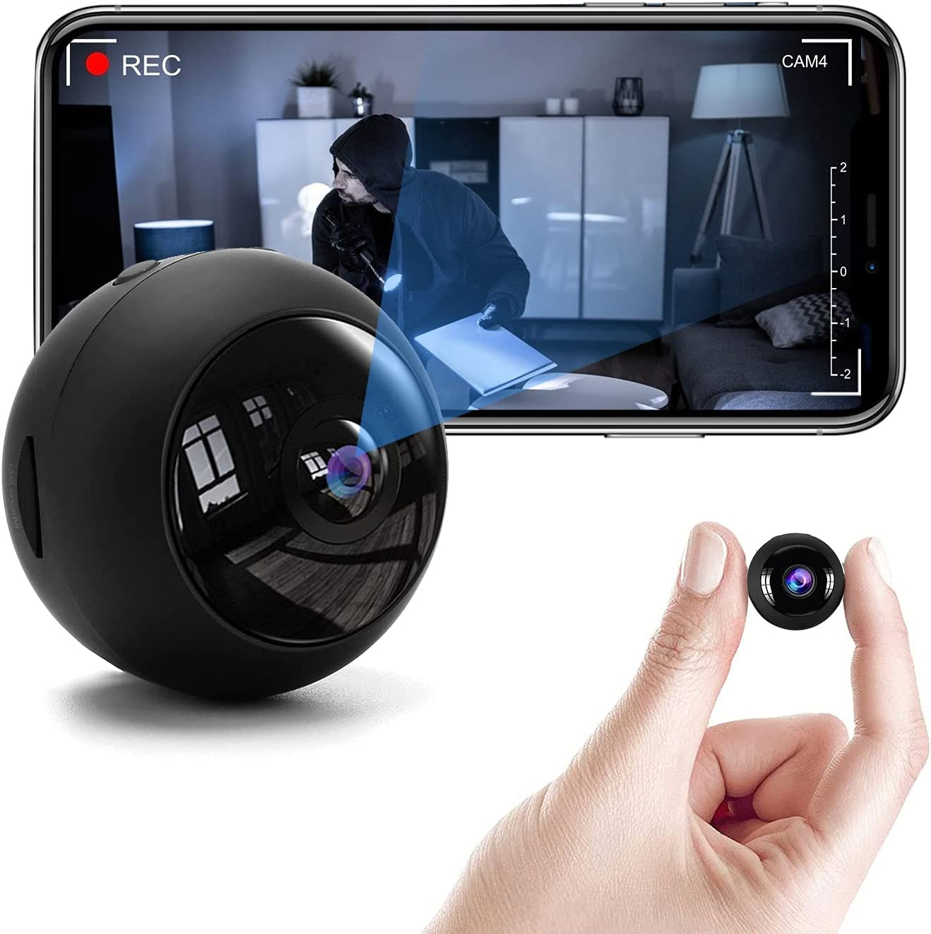 1080P Mini Spy WiFi Camera, Home Security Hidden Camera with Audio, Small WiFi Video Camera Indoor Outdoor, Support 2.4hz and 5G WiFi/Record Video/Automatic Night Vision/Motion Detection