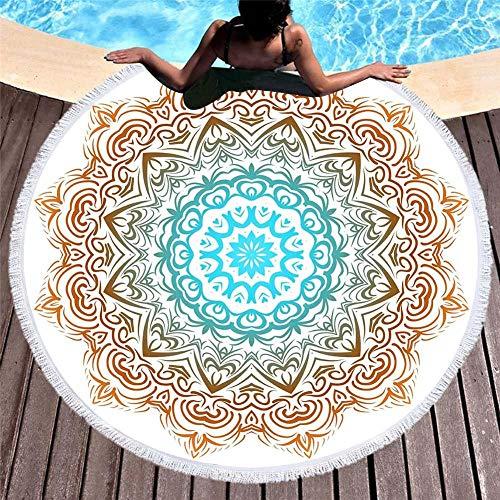Strandtuch Ohne Sand, Strandmatte Strandtuch Rund, Mandala, Outdoor-Freizeitkissen