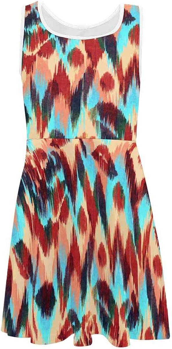 INTERESTPRINT Girls Sleeveless Dresss Crew Neck Casual Sundress Zig Zag Pattern on Floral (2T-XL)