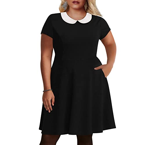 2413b71361 Nemidor Women s Peter Pan Collar Fit and Flare Plus Size Skater Party Dress