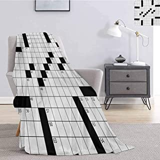 Luoiaax Word Search Puzzle Flannel Fleece Throw Blanket Blank Newspaper Style Crossword Puzzle with Numbers in Word Grid Fluffy Decorative Blanket for Couch W70 x L93 Inch Black and White