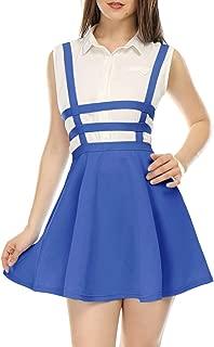 Allegra K Women's Pleated A-Line Elastic Waist Braces Mini Suspender Skirt