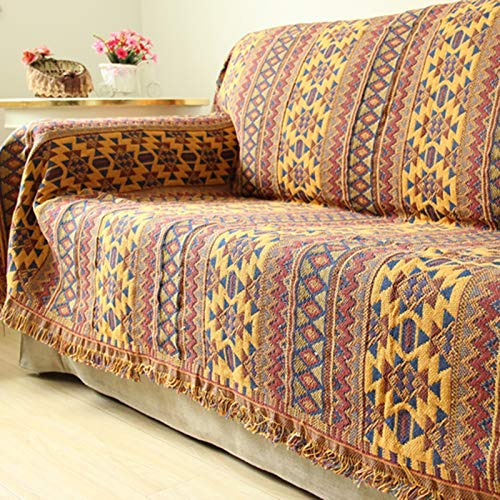 Blanket Throw,Reversible Sofa Throw Blanket w/ Tassels Bohemian Style Sofa Throws Warm Thick Armchair Cover Soft Blanket,Bright Cotton Woven Line Blanket Towel Knitted Bohemian Bed Blanket,130*180CM
