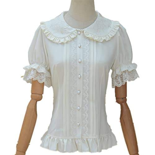 73fb21da5805d2 TanQiang Women's Sweet Lolita Shirt Short Puff Sleeve Flower Embroidered  Peter Pan Collar White Ruffle Blouse