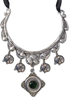 Sansar India Oxidized Silver Plated Hasli Pendant Necklace for Girls and Women