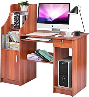wood desk with keyboard tray