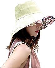 Womens Sun Hat Reversible Foldable Wide Brim Beach Hat Cap Adjustable Neck Flap Summer UV Protection UPF 50+