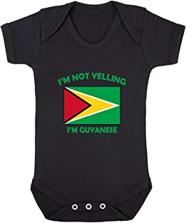 I'm Not Yelling, I Am Guyanese Guyana Baby Bodysuit One Piece Black Newborn