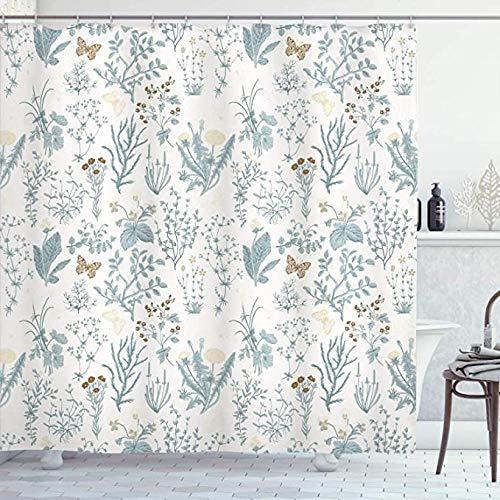 Duschvorhang Badewanne Blumenduschvorhang, Vintage Gartenpflanzen Kräuter Blumen Botanical Classic Design Illustration, Mit 12 Haken, Blaugrau
