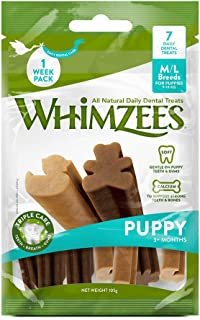 Whimzees All Natural Daily Dental Treats 1 Week Pack for M/L Puppy