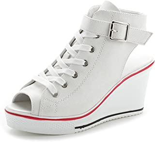 Women's Sneaker Fashion Canvas High-Heeled Shoes Lace UP Wedges Pump Shoes