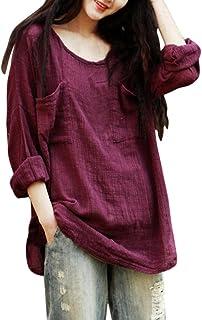 dbbb2c2119 Yogogo Femmes Coton Lin Chemise Round Neck Casuel Chic DéContracté Large  Manches Longues Tee Shirt Robe