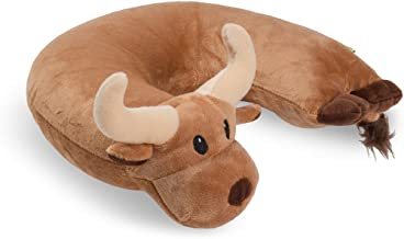 Critter Piller Kid's Travel Buddy and Comfort Pillow, Brown Longhorn, Hypoallergenic, Machine Washable, Recycled Filling