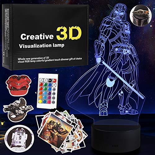 Star Wars - Lampada a illusione 3D, luce notturna 3D, per bambini, con adesivi gratuiti, per bambini, regalo di compleanno per ragazzo, età 4 5 6 7 8 anni