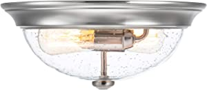 "Prominence Home 51382 Designer Series Flushmount Lighting, 13"" Seeded Glass, Low Profile, Brushed Nickel"