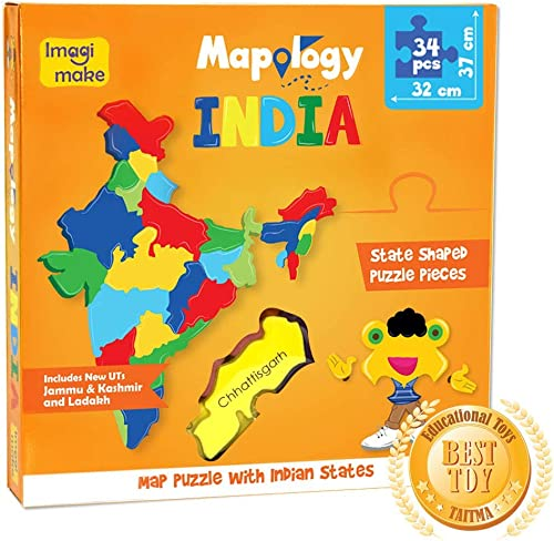 Imagimake Mapology : States of India Map Puzzle - Educational Toy and Learning Aid - Puzzles for Kids for Age 4 Years...