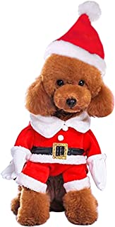Mogoko Dog Cat Christmas Santa Claus Costume, Funny Pet Cosplay Costumes Suit with a Cap, Puppy Fleece Outfits Warm Coat Animal Festival Apparel Clothes