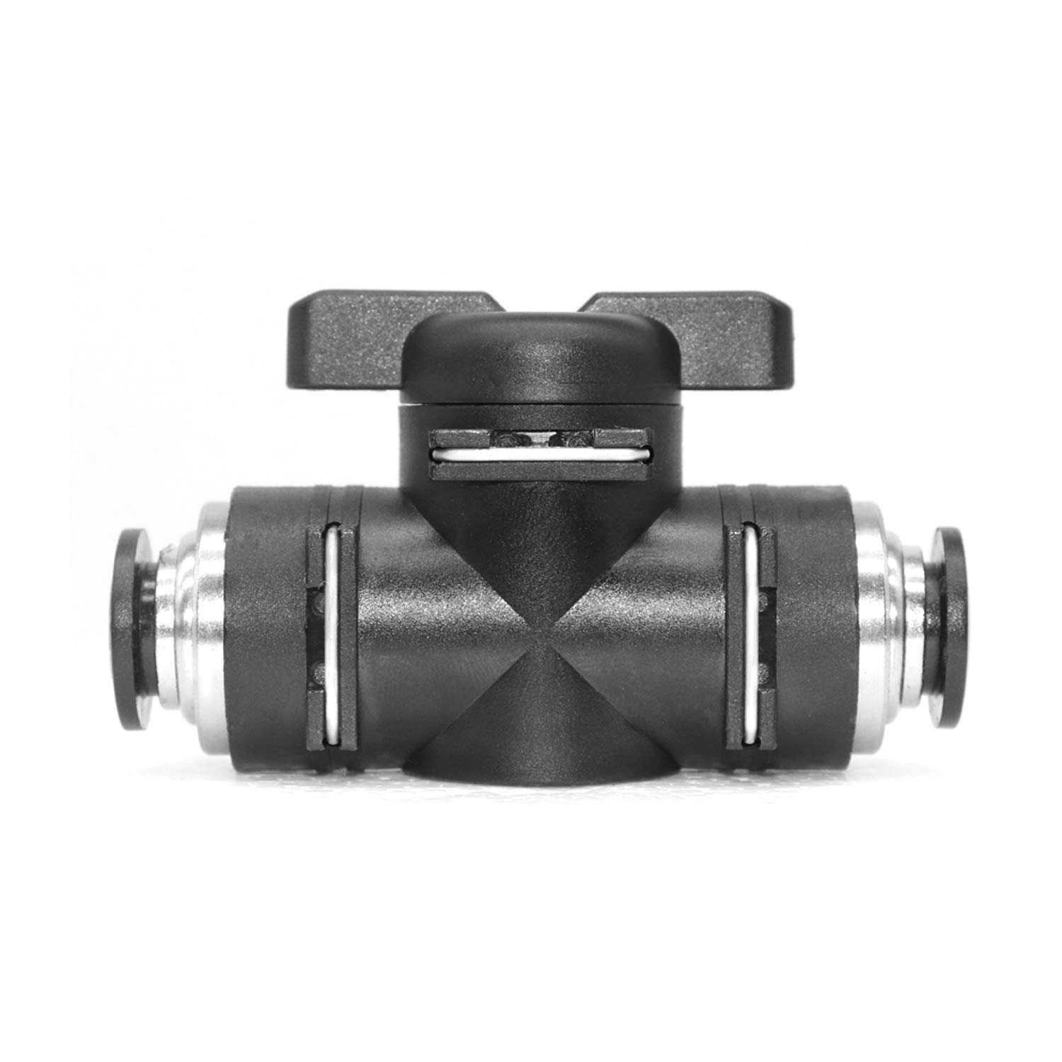 1//4 x 1//4 OD Push to Connect Fitting Air Flow Control Valve Pneumatic Ball Valve Air Tube Hand Valve Straight Quick Connect Union