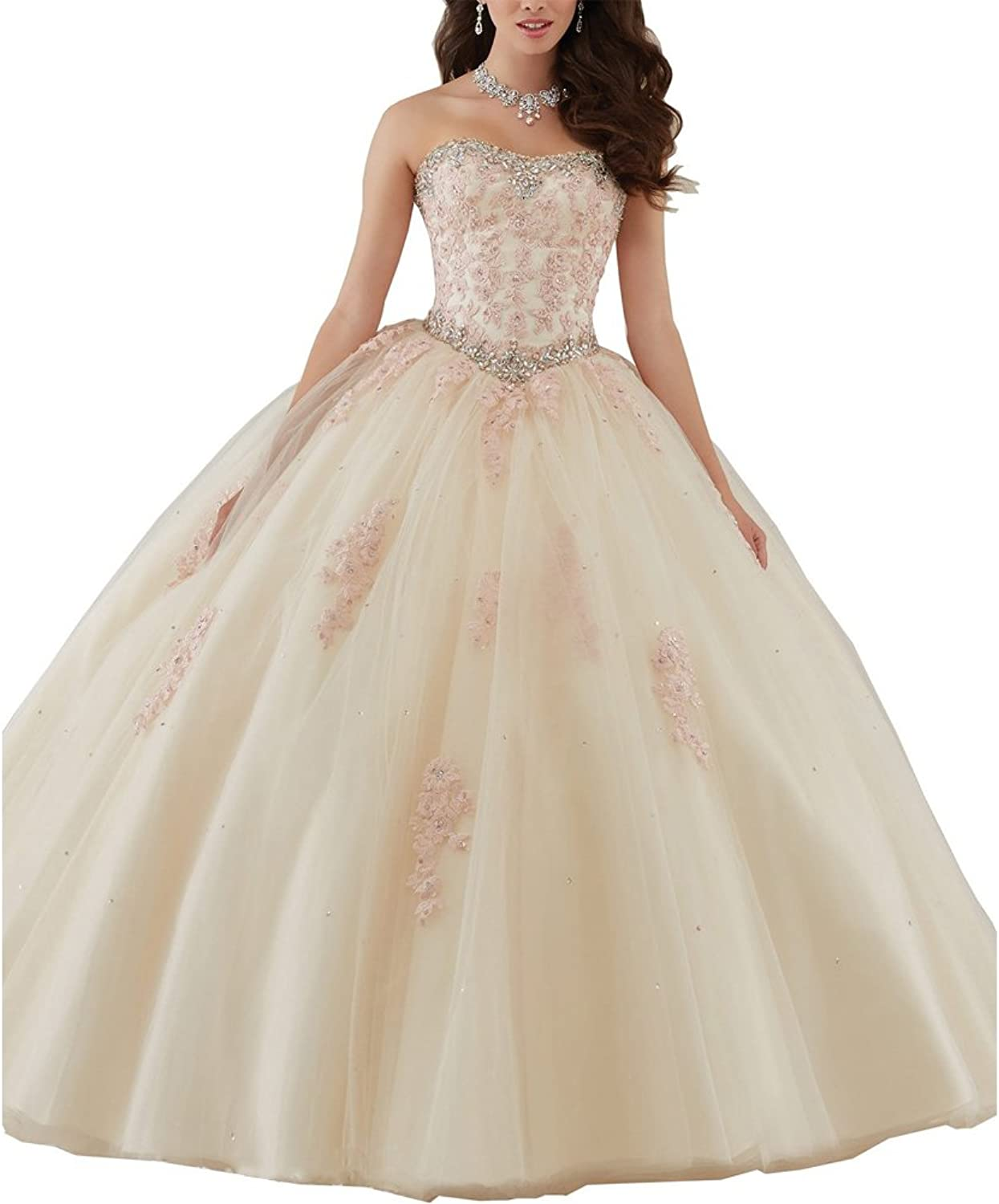 Beauty Bridal Women's Lace Applique Floor Length Tulle Ball Gown Quinceanera Dress