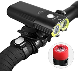 Gaciron Ultra Bright Bike Front Light Set 1600 Lumen 5000mAh, Bicycle Light Set with Back Rear Light USB Rechargeable IPX6 Waterproof and Quick Release