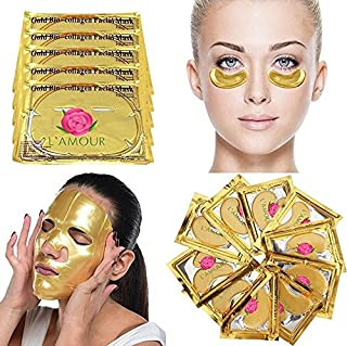 20 Pairs of Eye Masks + 5 Face Masks | 24K Gold Powder Crystal Gel Collagen Facial & Eye Mask Set | Anti-Aging & Moisturizing; Reduces Dark Circles, Puffiness, Wrinkles | L'AMOUR yes!