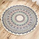 Lanqinglv Alfombra redonda 150 cm Bohemia, hecha a mano, algodón, lino, patrón indio, mandala, multicolor, alfombra redonda con borla para dormitorio, salón, decoración de casa