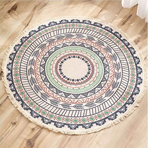 Lanqinglv Teppich Rund 90cm Böhmisch Baumwolle Leinen Teppiche Handgemachte Weben Indien Mandala Muster Bunt Runder Teppich mit Quaste für Kinderzimmer Wohnzimmer Küche Fußmatte