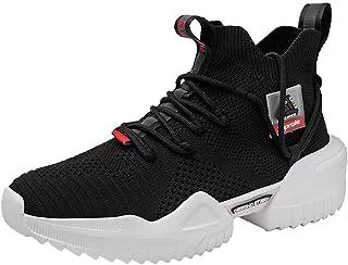 Ahico الرجال المشي أحذية الأزياء الرياضية الجري عدم الانزلاق منصة الجوارب الأحذية أنيق عارضة اللياقة البدنية مريحة الرياضة