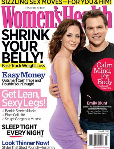 Women's Health Magazine - Matt Damon & Emily Blunt on Cover - Shrink Your Belly - Get Lean Sexy Legs - Sizzling Sex Moves for You and Him - Look Thinner Now - Easy Money Double Your Dough (March, 2011)